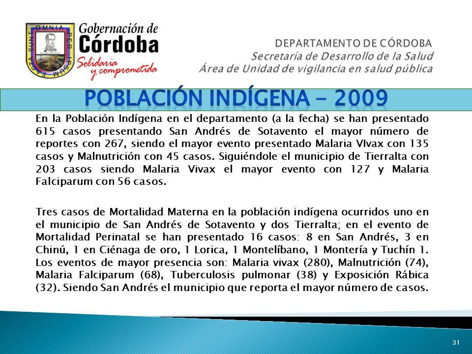 31 En la Población Indígena en el departamento (a la fecha) se han presentado 615 casos presentando San Andrés de Sotavento el mayor número de reporte