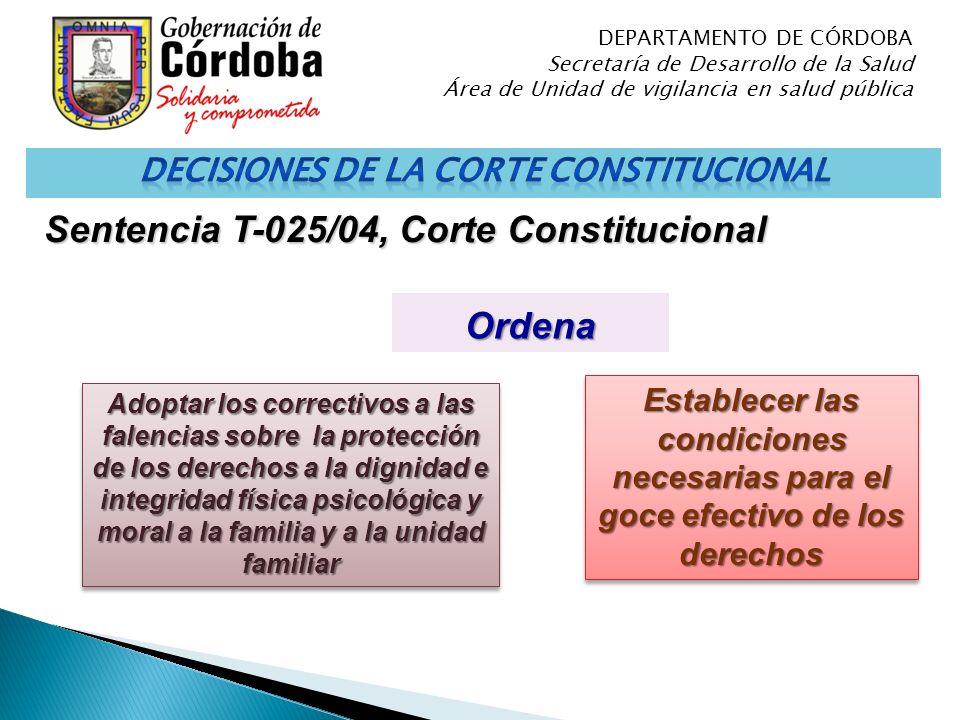 Ordena Adoptar los correctivos a las falencias sobre la protección de los derechos a la dignidad e integridad física psicológica y moral a la familia