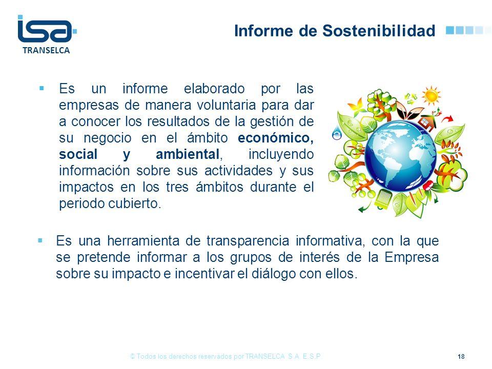 TRANSELCA Informe de Sostenibilidad Es un informe elaborado por las empresas de manera voluntaria para dar a conocer los resultados de la gestión de s