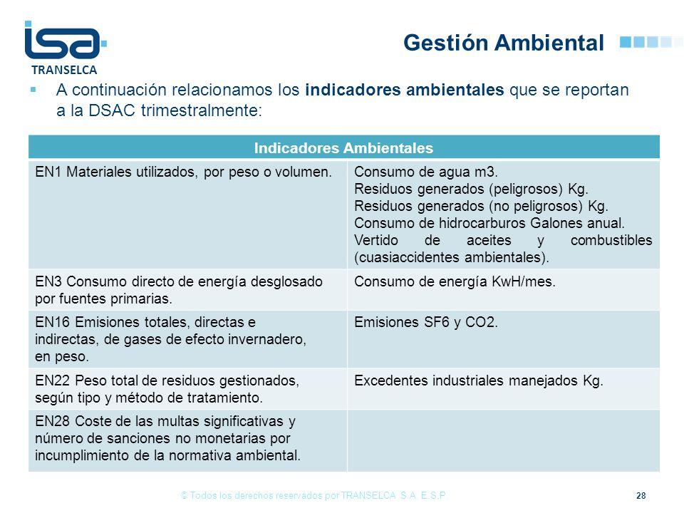 TRANSELCA 28 © Todos los derechos reservados por TRANSELCA S.A. E.S.P. A continuación relacionamos los indicadores ambientales que se reportan a la DS