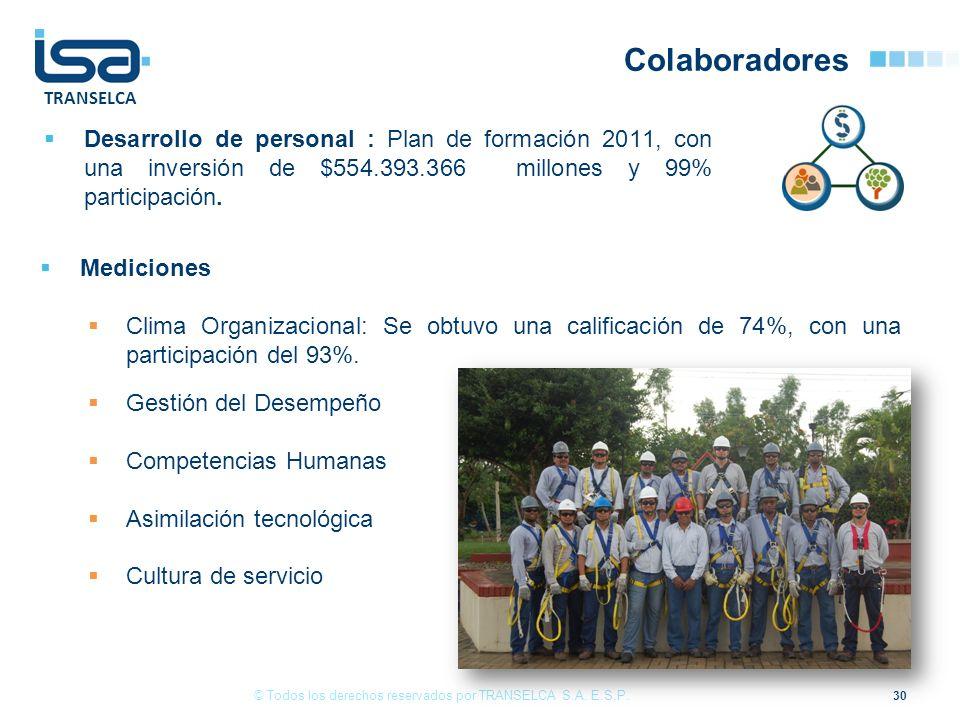 TRANSELCA Colaboradores Desarrollo de personal : Plan de formación 2011, con una inversión de $554.393.366 millones y 99% participación. 30 © Todos lo