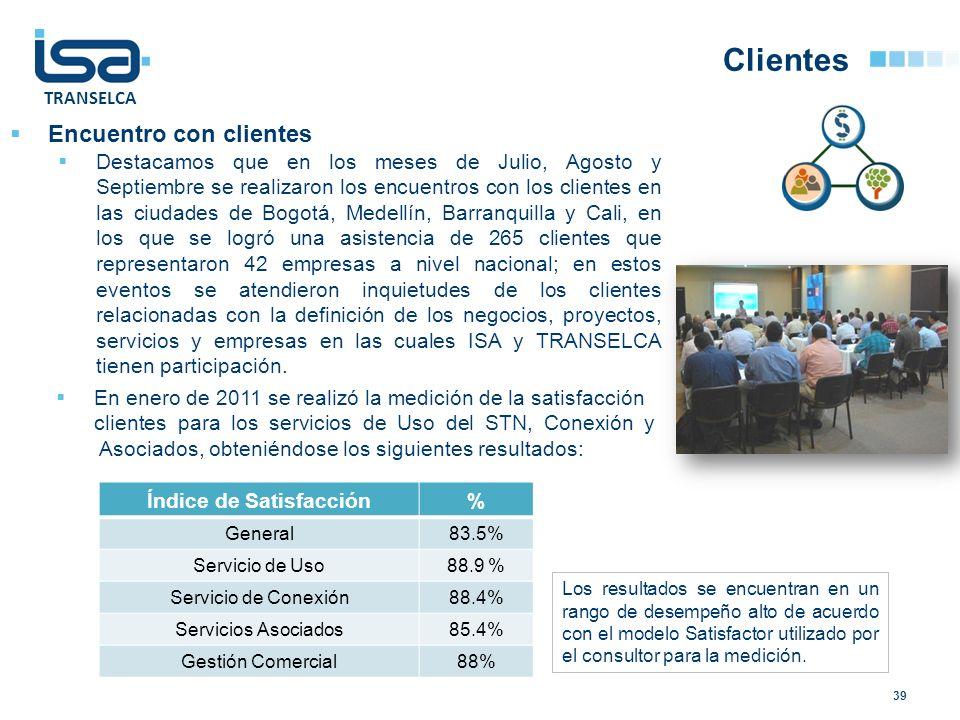 TRANSELCA Clientes 39 Encuentro con clientes Destacamos que en los meses de Julio, Agosto y Septiembre se realizaron los encuentros con los clientes e