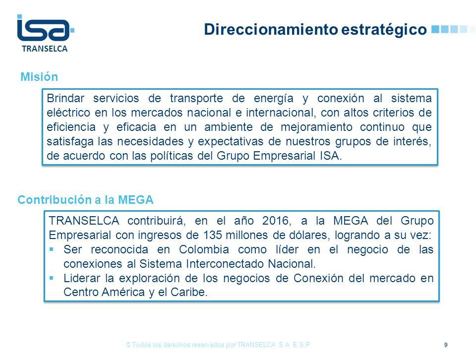 TRANSELCA 9 © Todos los derechos reservados por TRANSELCA S.A. E.S.P. TRANSELCA contribuirá, en el año 2016, a la MEGA del Grupo Empresarial con ingre