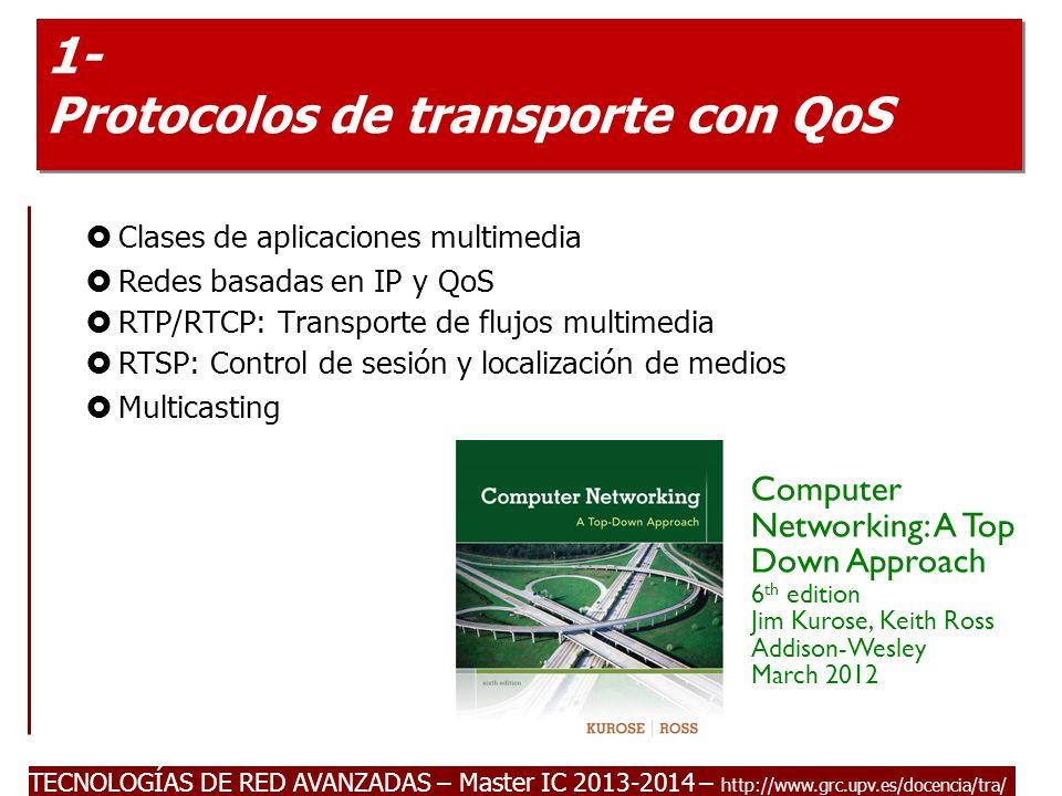 TECNOLOGÍAS DE RED AVANZADAS – Master IC 2013-2014 – http://www.grc.upv.es/docencia/tra/ 1- Protocolos de transporte con QoS Clases de aplicaciones multimedia Redes basadas en IP y QoS RTP/RTCP: Transporte de flujos multimedia RTSP: Control de sesión y localización de medios Multicasting Computer Networking: A Top Down Approach 6 th edition Jim Kurose, Keith Ross Addison-Wesley March 2012