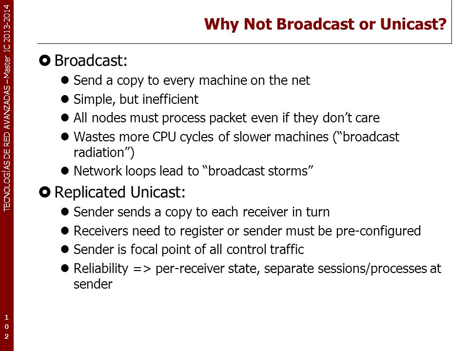 TECNOLOGÍAS DE RED AVANZADAS – Master IC 2013-2014 Why Not Broadcast or Unicast? Broadcast: Send a copy to every machine on the net Simple, but ineffi