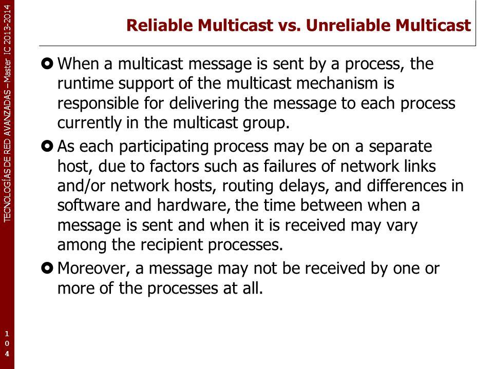 TECNOLOGÍAS DE RED AVANZADAS – Master IC 2013-2014 Reliable Multicast vs. Unreliable Multicast When a multicast message is sent by a process, the runt