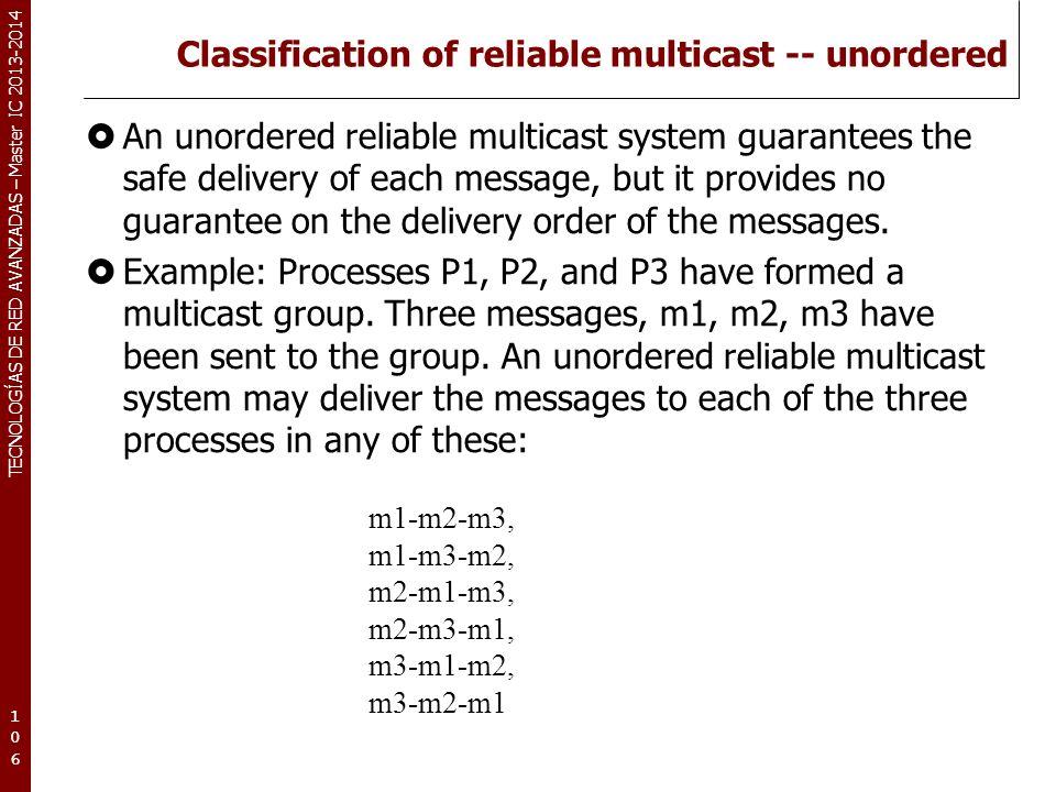TECNOLOGÍAS DE RED AVANZADAS – Master IC 2013-2014 Classification of reliable multicast -- unordered An unordered reliable multicast system guarantees