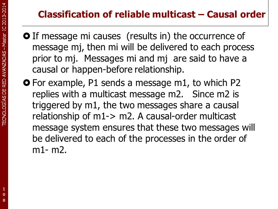 TECNOLOGÍAS DE RED AVANZADAS – Master IC 2013-2014 Classification of reliable multicast – Causal order If message mi causes (results in) the occurrenc
