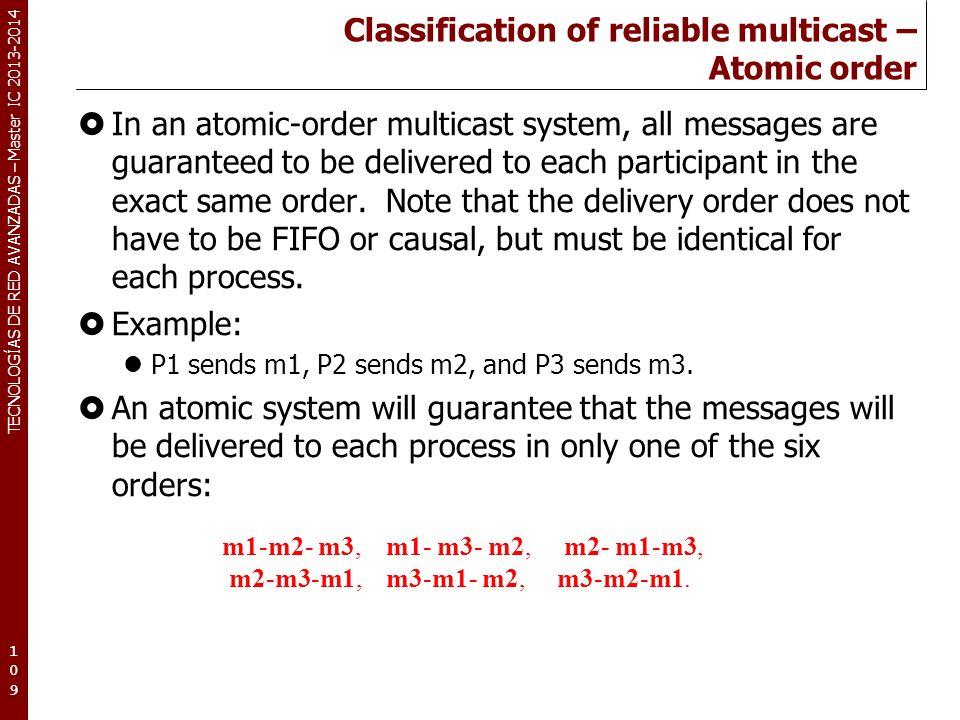 TECNOLOGÍAS DE RED AVANZADAS – Master IC 2013-2014 Classification of reliable multicast – Atomic order In an atomic-order multicast system, all messag
