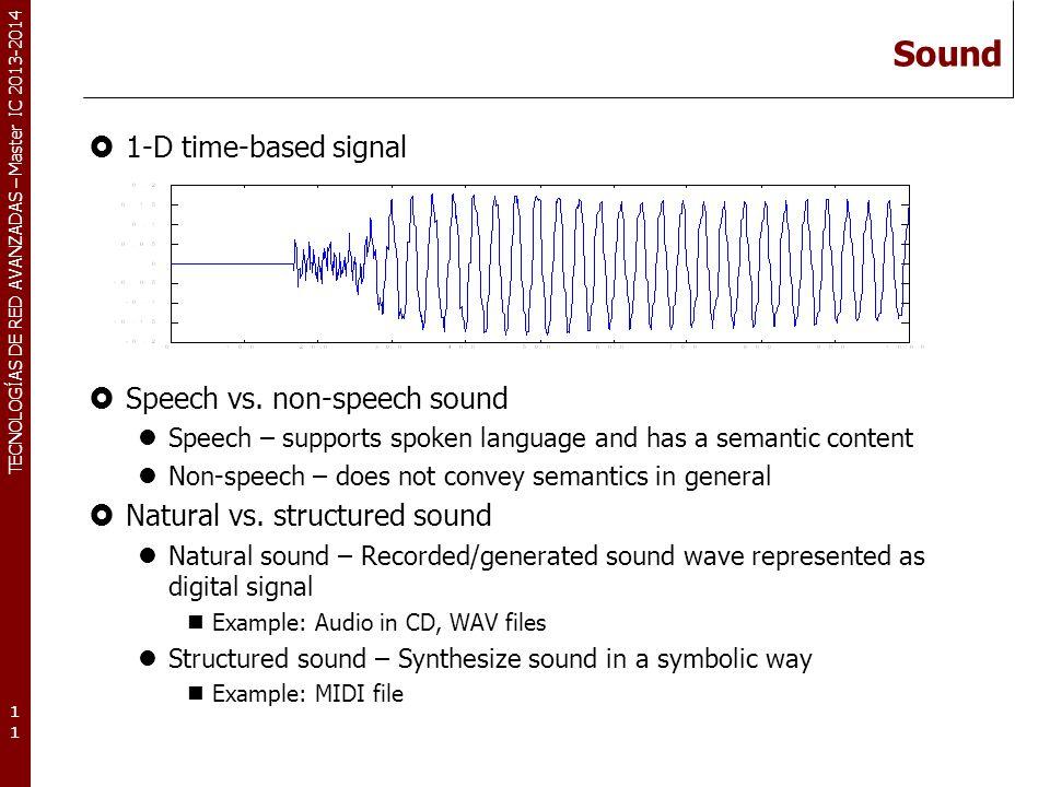 TECNOLOGÍAS DE RED AVANZADAS – Master IC 2013-2014 Sound 1-D time-based signal Speech vs. non-speech sound Speech – supports spoken language and has a