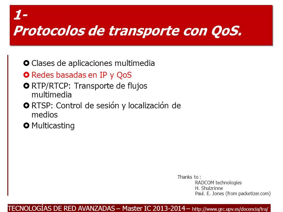TECNOLOGÍAS DE RED AVANZADAS – Master IC 2013-2014 – http://www.grc.upv.es/docencia/tra/ 1- Protocolos de transporte con QoS. Clases de aplicaciones m