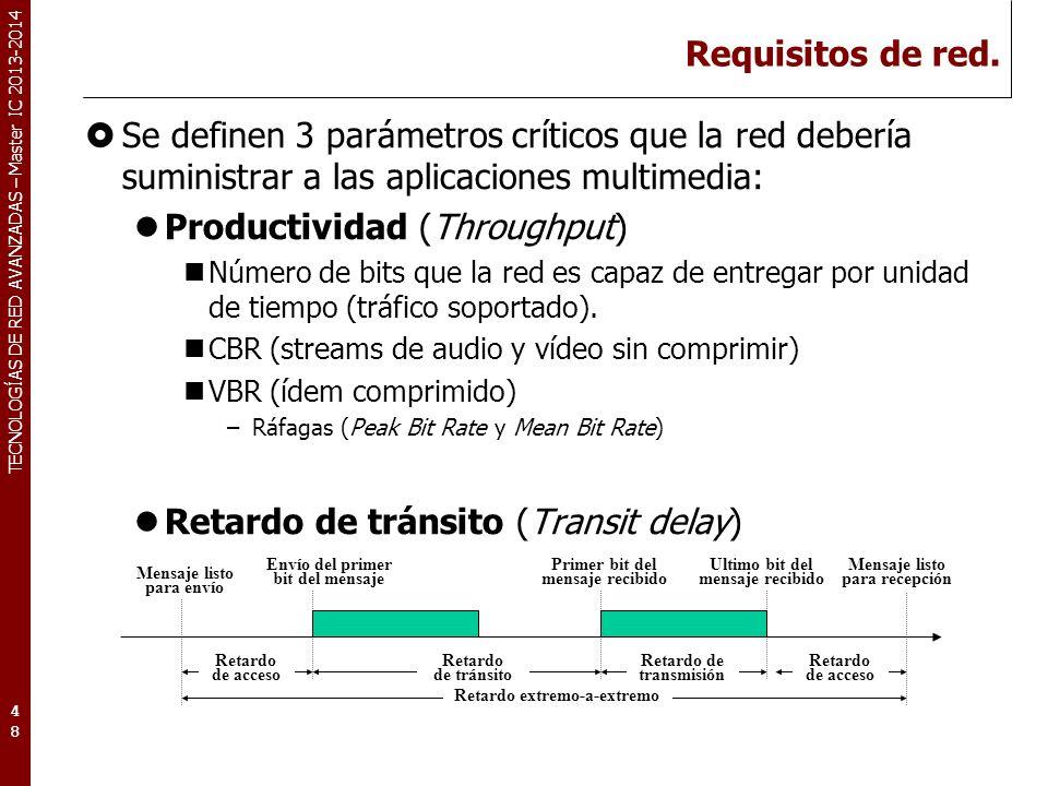 TECNOLOGÍAS DE RED AVANZADAS – Master IC 2013-2014 Requisitos de red. Se definen 3 parámetros críticos que la red debería suministrar a las aplicacion