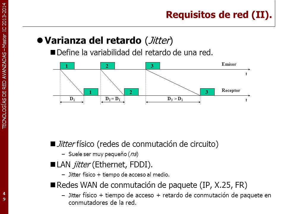 TECNOLOGÍAS DE RED AVANZADAS – Master IC 2013-2014 Requisitos de red (II). Varianza del retardo (Jitter) Define la variabilidad del retardo de una red