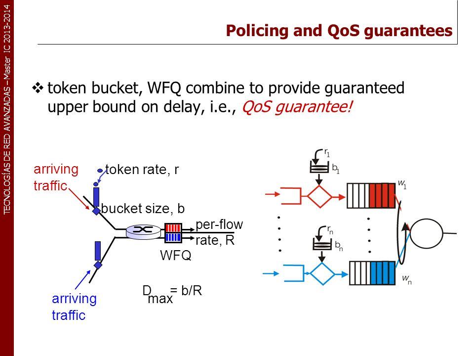 TECNOLOGÍAS DE RED AVANZADAS – Master IC 2013-2014 Policing and QoS guarantees token bucket, WFQ combine to provide guaranteed upper bound on delay, i.e., QoS guarantee.