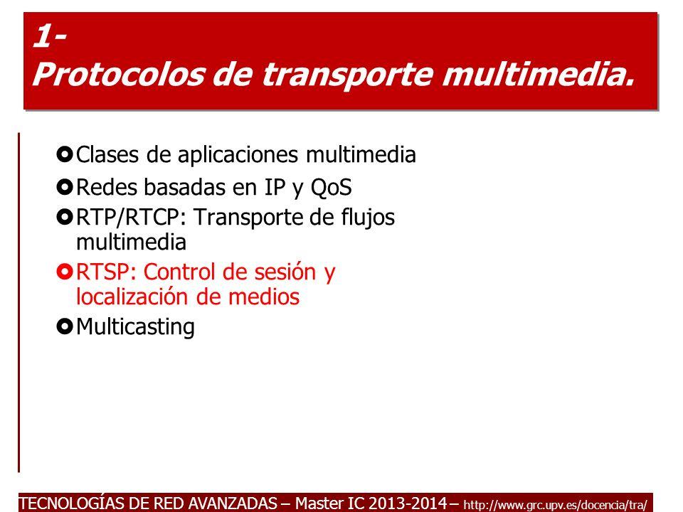 TECNOLOGÍAS DE RED AVANZADAS – Master IC 2013-2014 – http://www.grc.upv.es/docencia/tra/ 1- Protocolos de transporte multimedia. Clases de aplicacione