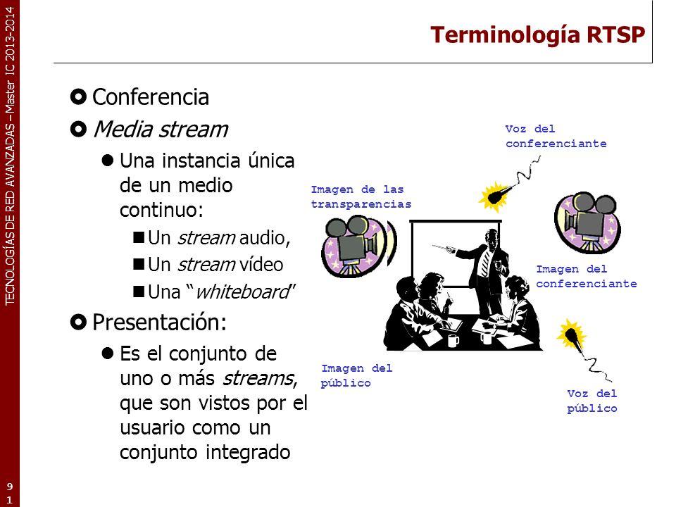 TECNOLOGÍAS DE RED AVANZADAS – Master IC 2013-2014 Terminología RTSP Conferencia Media stream Una instancia única de un medio continuo: Un stream audi