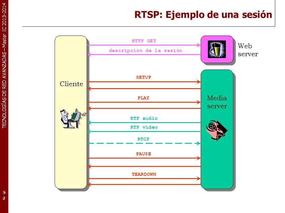 TECNOLOGÍAS DE RED AVANZADAS – Master IC 2013-2014 RTSP: Ejemplo de una sesión 92 Web server SETUP PLAY PAUSE TEARDOWN HTTP GET descripción de la sesión RTP audio RTP vídeo RTCP Cliente Media server