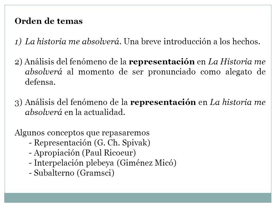 Orden de temas 1)La historia me absolverá. Una breve introducción a los hechos. 2) Análisis del fenómeno de la representación en La Historia me absolv