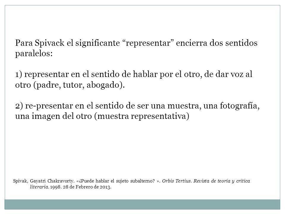 Para Spivack el significante representar encierra dos sentidos paralelos: 1) representar en el sentido de hablar por el otro, de dar voz al otro (padr