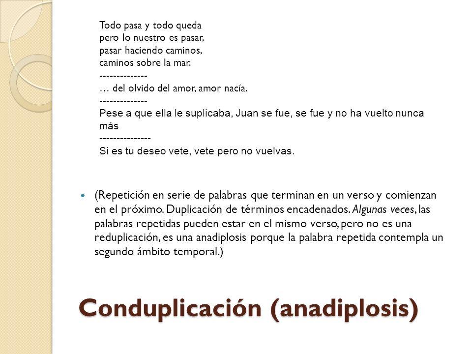 Reduplicación (Repetición inmediata de una misma palabra en un verso o frase.