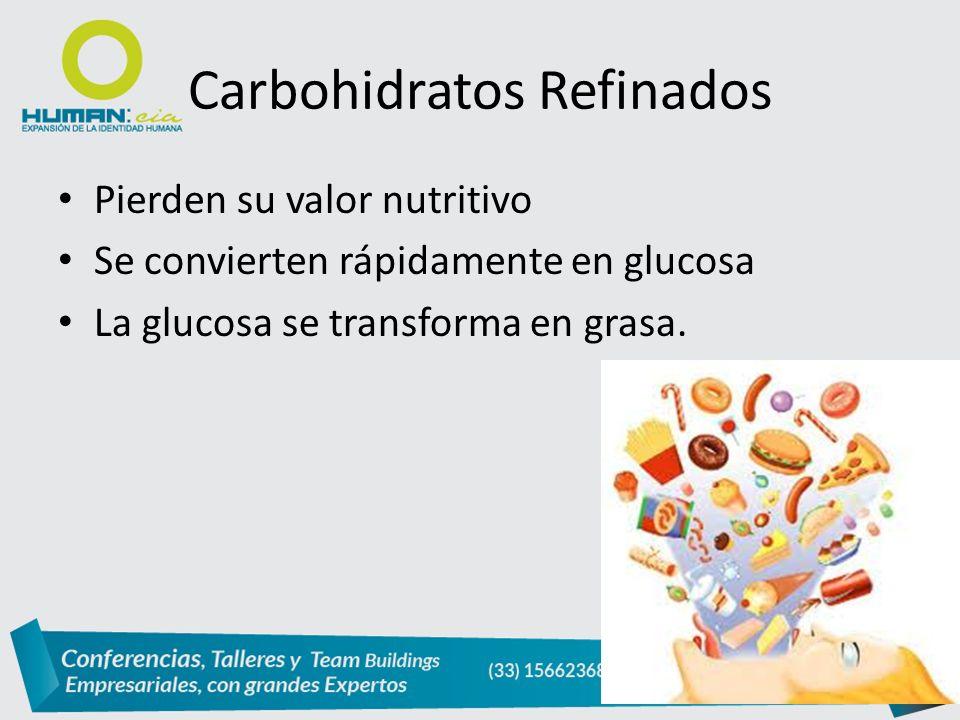 Pierden su valor nutritivo Se convierten rápidamente en glucosa La glucosa se transforma en grasa.