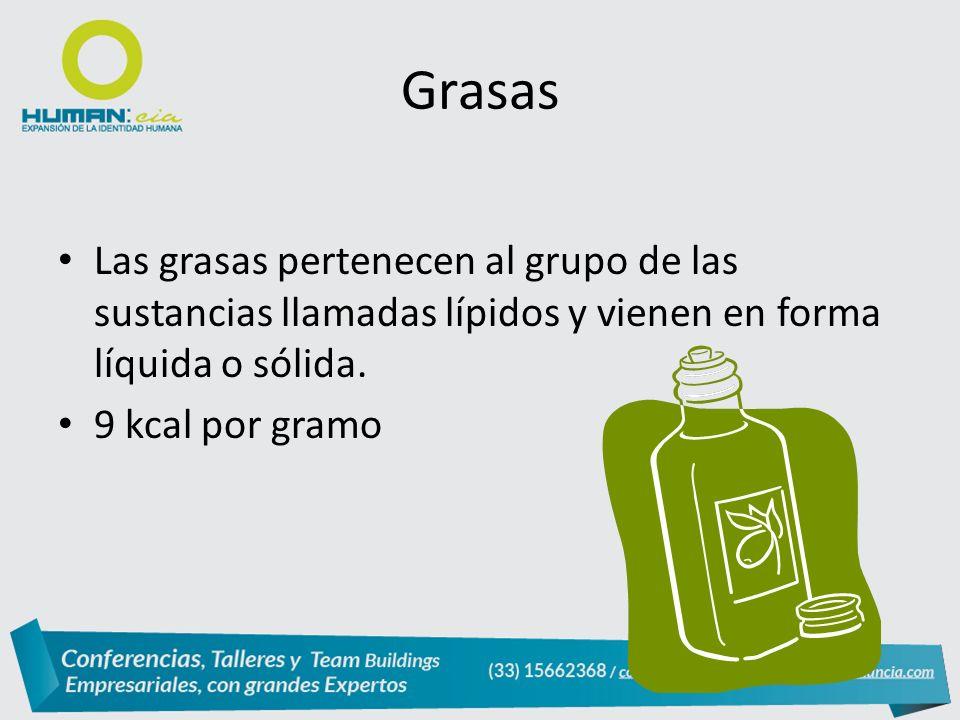 Las grasas pertenecen al grupo de las sustancias llamadas lípidos y vienen en forma líquida o sólida.