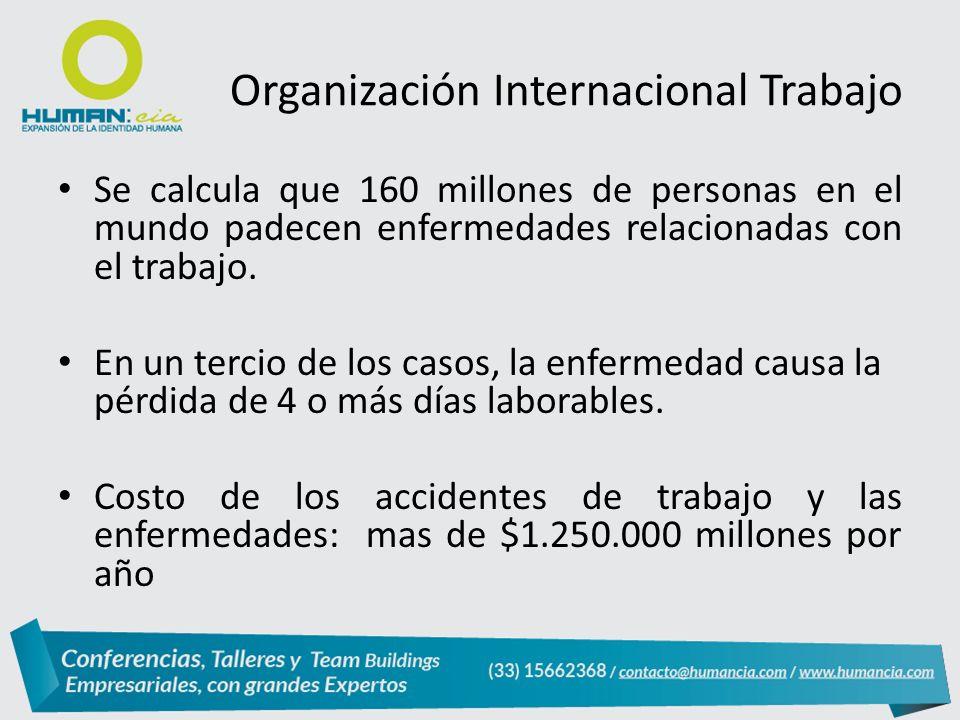 Organización Internacional Trabajo Se calcula que 160 millones de personas en el mundo padecen enfermedades relacionadas con el trabajo.