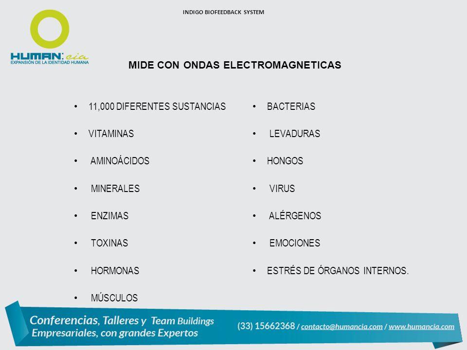 MIDE CON ONDAS ELECTROMAGNETICAS 11,000 DIFERENTES SUSTANCIAS VITAMINAS AMINOÁCIDOS MINERALES ENZIMAS TOXINAS HORMONAS MÚSCULOS BACTERIAS LEVADURAS HONGOS VIRUS ALÉRGENOS EMOCIONES ESTRÉS DE ÓRGANOS INTERNOS.