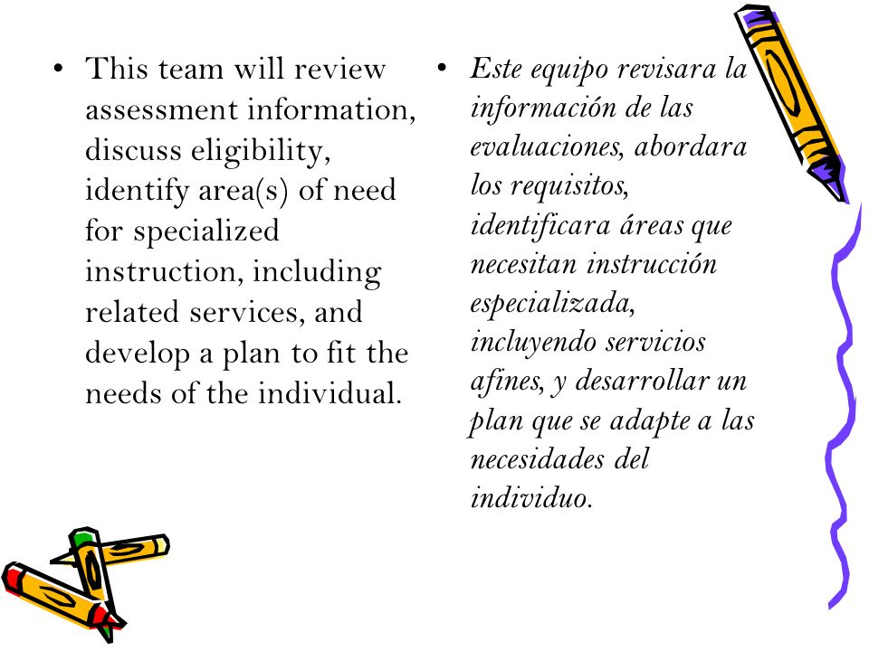 This team will review assessment information, discuss eligibility, identify area(s) of need for specialized instruction, including related services, and develop a plan to fit the needs of the individual.