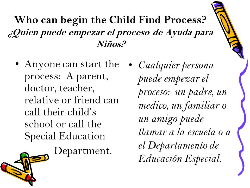 Who can begin the Child Find Process? ¿Quien puede empezar el proceso de Ayuda para Niños? Anyone can start the process: A parent, doctor, teacher, re