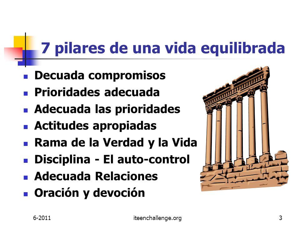 7 pilares de una vida equilibrada Decuada compromisos Prioridades adecuada Adecuada las prioridades Actitudes apropiadas Rama de la Verdad y la Vida D