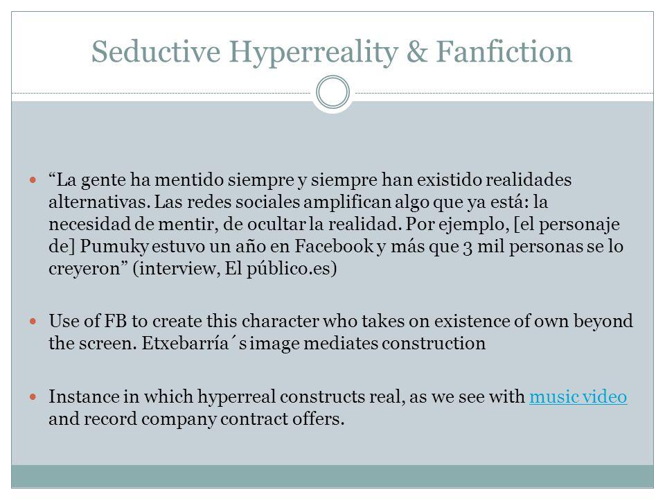 Seductive Hyperreality & Fanfiction La gente ha mentido siempre y siempre han existido realidades alternativas. Las redes sociales amplifican algo que