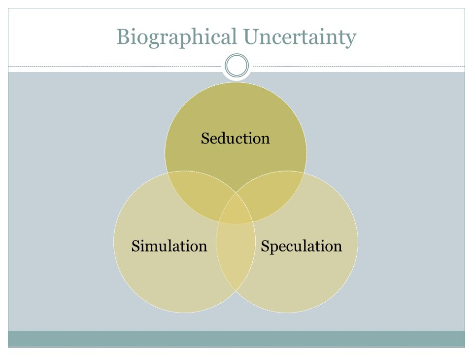 Biographical Uncertainty Seduction SpeculationSimulation