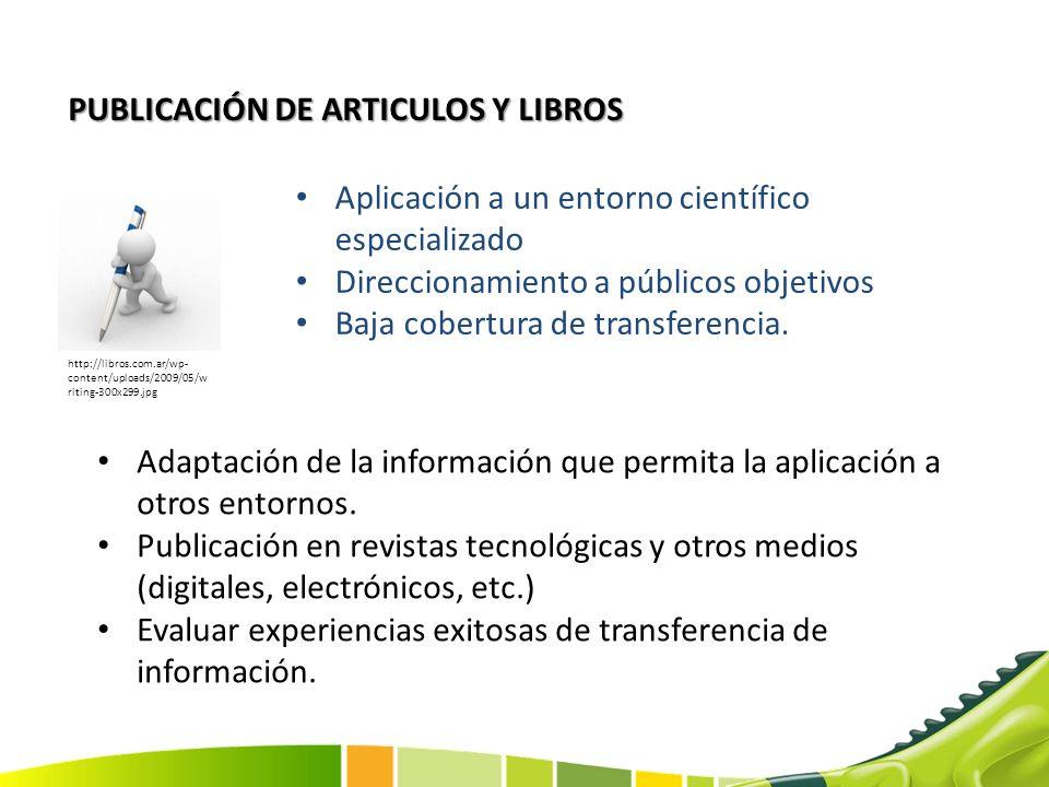 PUBLICACIÓN DE ARTICULOS Y LIBROS Aplicación a un entorno científico especializado Direccionamiento a públicos objetivos Baja cobertura de transferenc