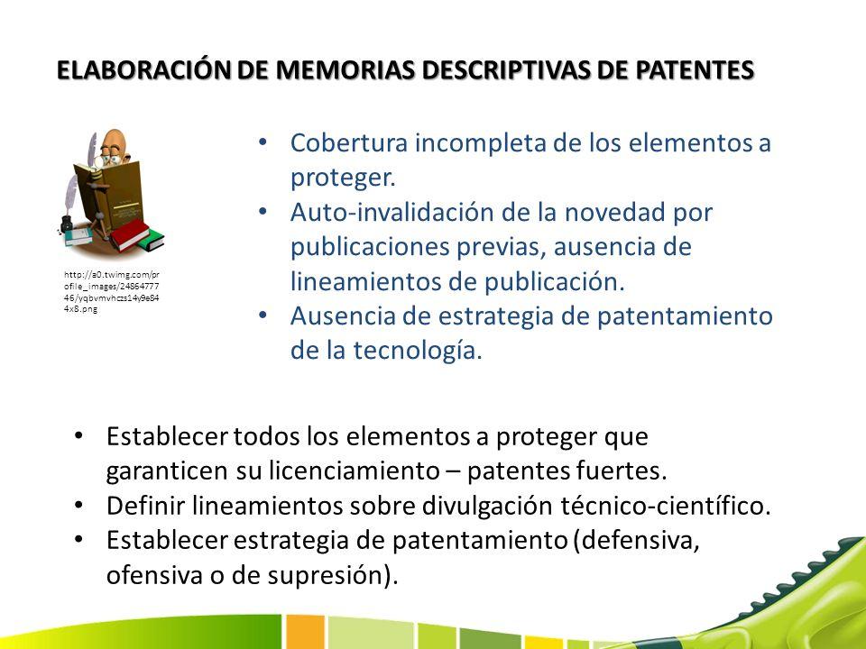 ELABORACIÓN DE MEMORIAS DESCRIPTIVAS DE PATENTES Cobertura incompleta de los elementos a proteger. Auto-invalidación de la novedad por publicaciones p