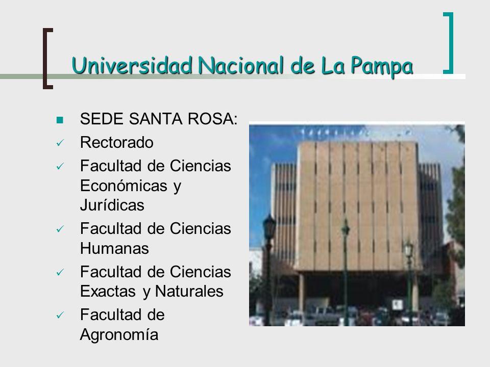 Universidad Nacional de La Pampa SEDE SANTA ROSA: Rectorado Facultad de Ciencias Económicas y Jurídicas Facultad de Ciencias Humanas Facultad de Cienc
