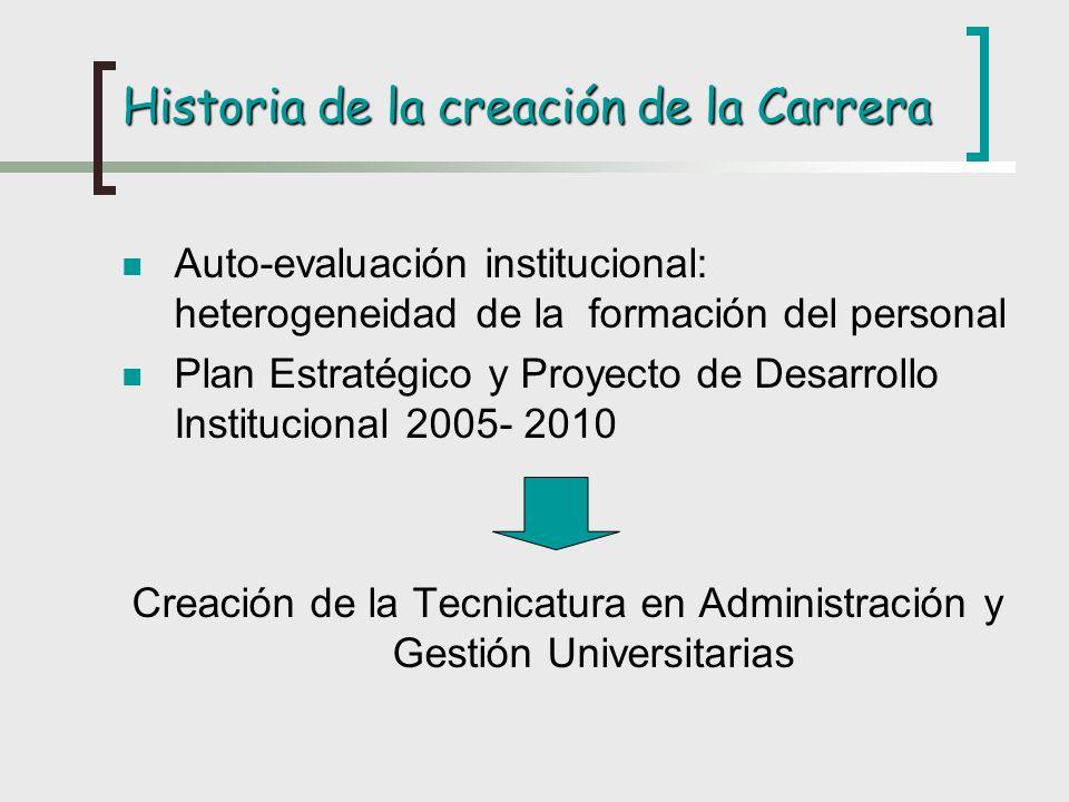 Historia de la creación de la Carrera Auto-evaluación institucional: heterogeneidad de la formación del personal Plan Estratégico y Proyecto de Desarr