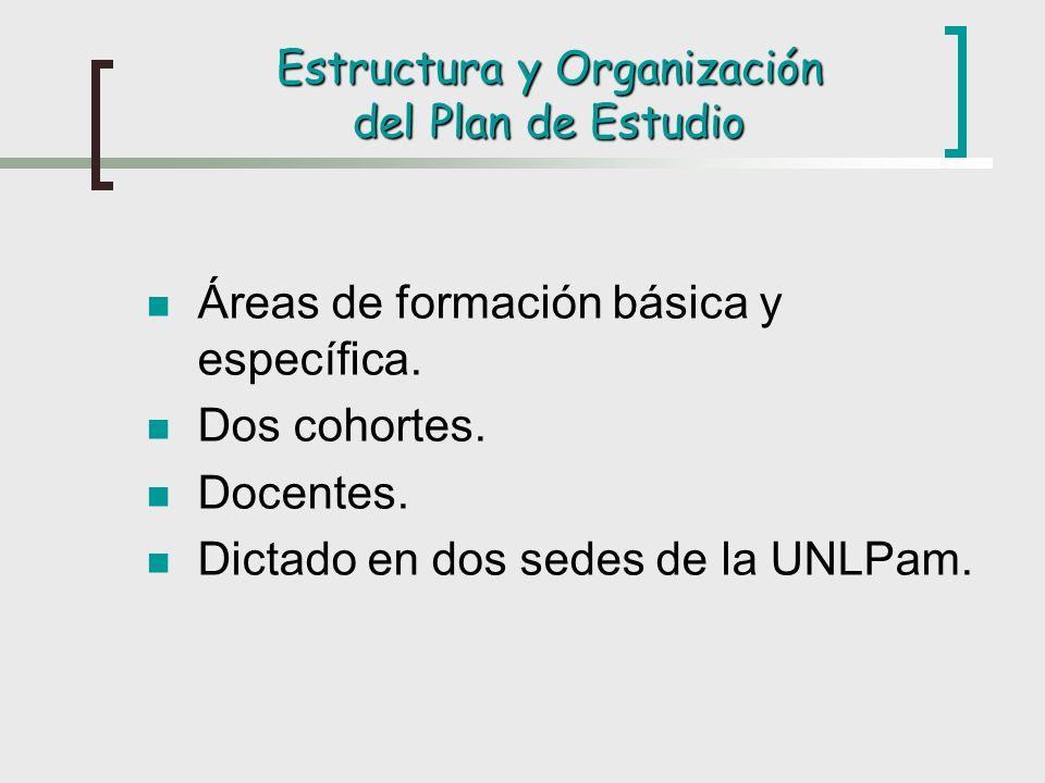 Estructura y Organización del Plan de Estudio Áreas de formación básica y específica. Dos cohortes. Docentes. Dictado en dos sedes de la UNLPam.