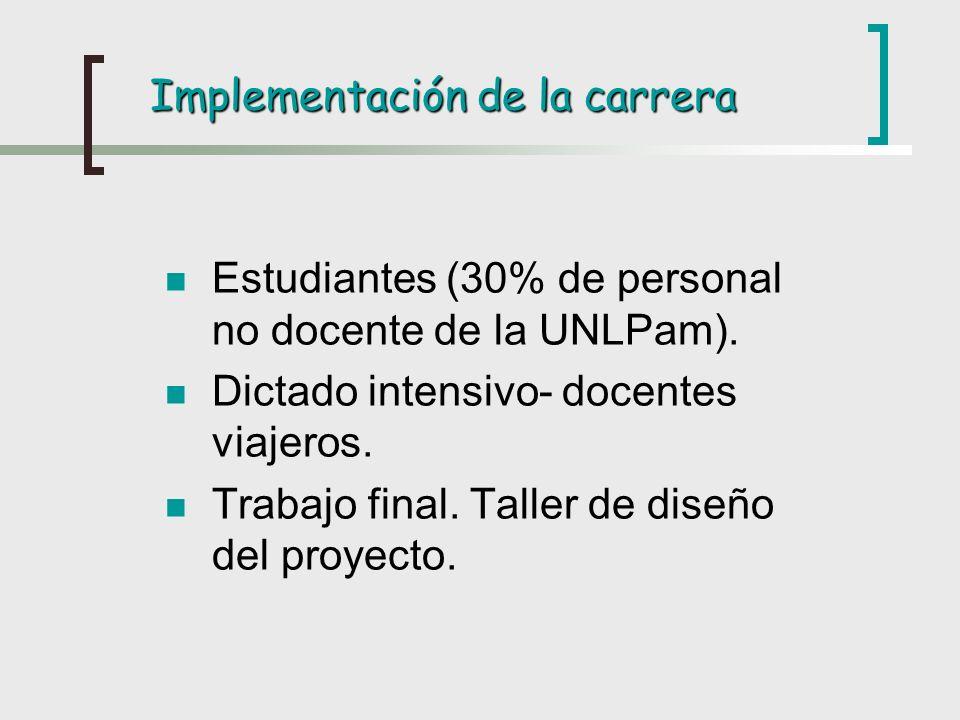 Implementación de la carrera Estudiantes (30% de personal no docente de la UNLPam). Dictado intensivo- docentes viajeros. Trabajo final. Taller de dis