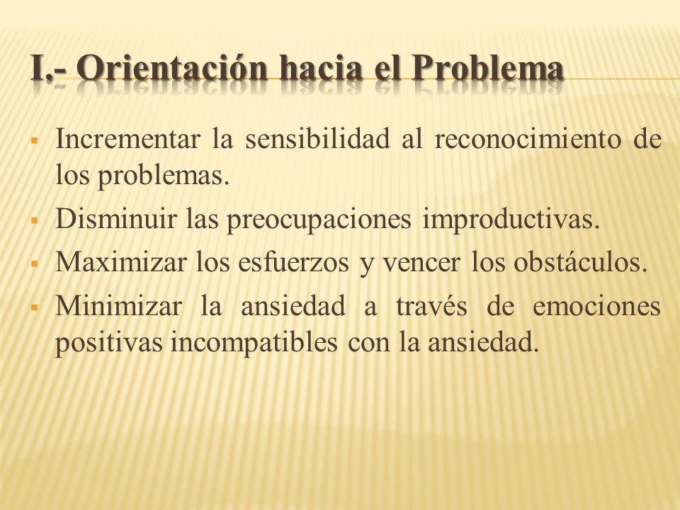 Incrementar la sensibilidad al reconocimiento de los problemas. Disminuir las preocupaciones improductivas. Maximizar los esfuerzos y vencer los obstá
