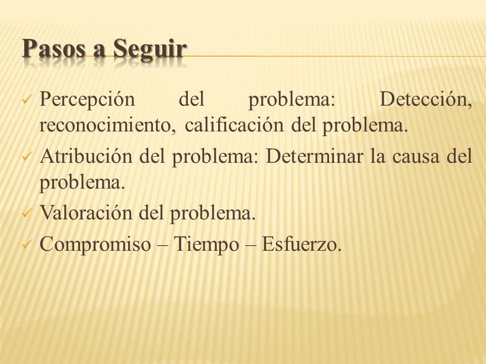 Percepción del problema: Detección, reconocimiento, calificación del problema. Atribución del problema: Determinar la causa del problema. Valoración d