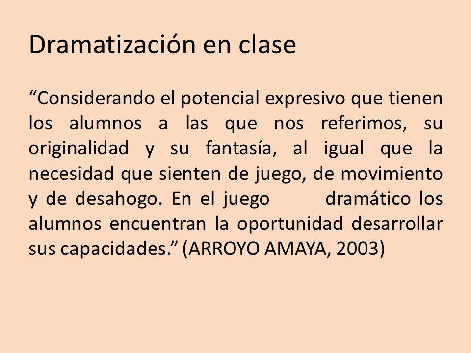 Dramatización en clase Considerando el potencial expresivo que tienen los alumnos a las que nos referimos, su originalidad y su fantasía, al igual que