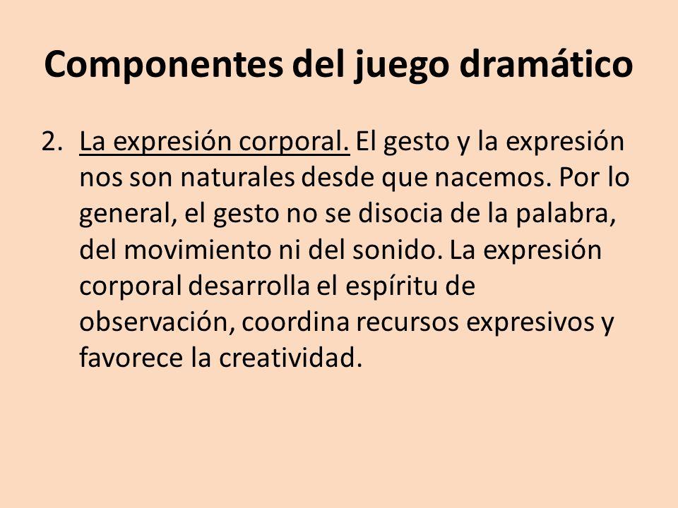 Componentes del juego dramático 2.La expresión corporal. El gesto y la expresión nos son naturales desde que nacemos. Por lo general, el gesto no se d
