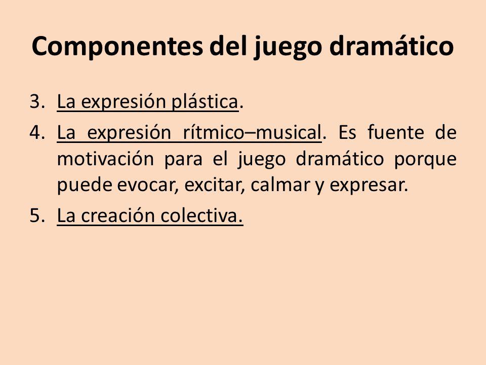 Componentes del juego dramático 3.La expresión plástica. 4.La expresión rítmico–musical. Es fuente de motivación para el juego dramático porque puede