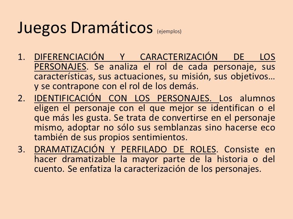 Juegos Dramáticos (ejemplos) 1.DIFERENCIACIÓN Y CARACTERIZACIÓN DE LOS PERSONAJES. Se analiza el rol de cada personaje, sus características, sus actua