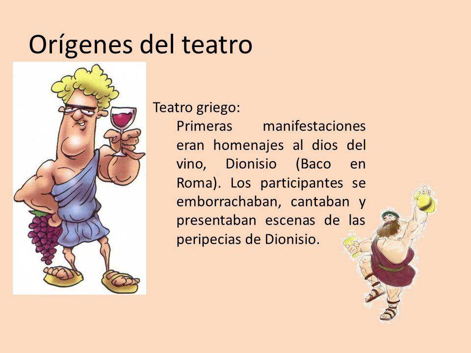 Orígenes del teatro Teatro griego: Primeras manifestaciones eran homenajes al dios del vino, Dionisio (Baco en Roma). Los participantes se emborrachab