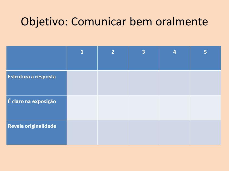 12345 Estrutura a resposta É claro na exposição Revela originalidade Objetivo: Comunicar bem oralmente