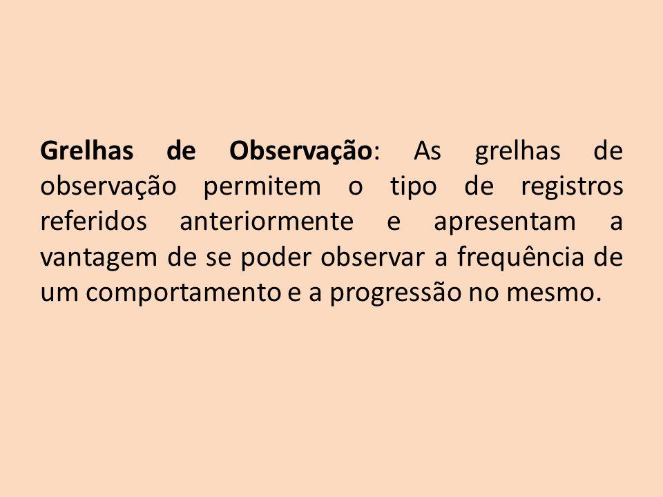 Grelhas de Observação: As grelhas de observação permitem o tipo de registros referidos anteriormente e apresentam a vantagem de se poder observar a fr
