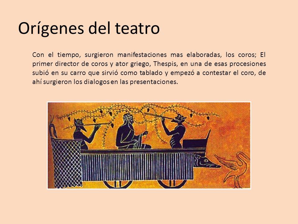 Orígenes del teatro Con el tiempo, surgieron manifestaciones mas elaboradas, los coros; El primer director de coros y ator griego, Thespis, en una de