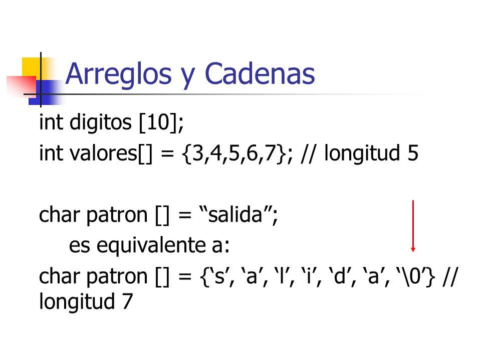 Arreglos y Cadenas int digitos [10]; int valores[] = {3,4,5,6,7}; // longitud 5 char patron [] = salida; es equivalente a: char patron [] = {s, a, l,